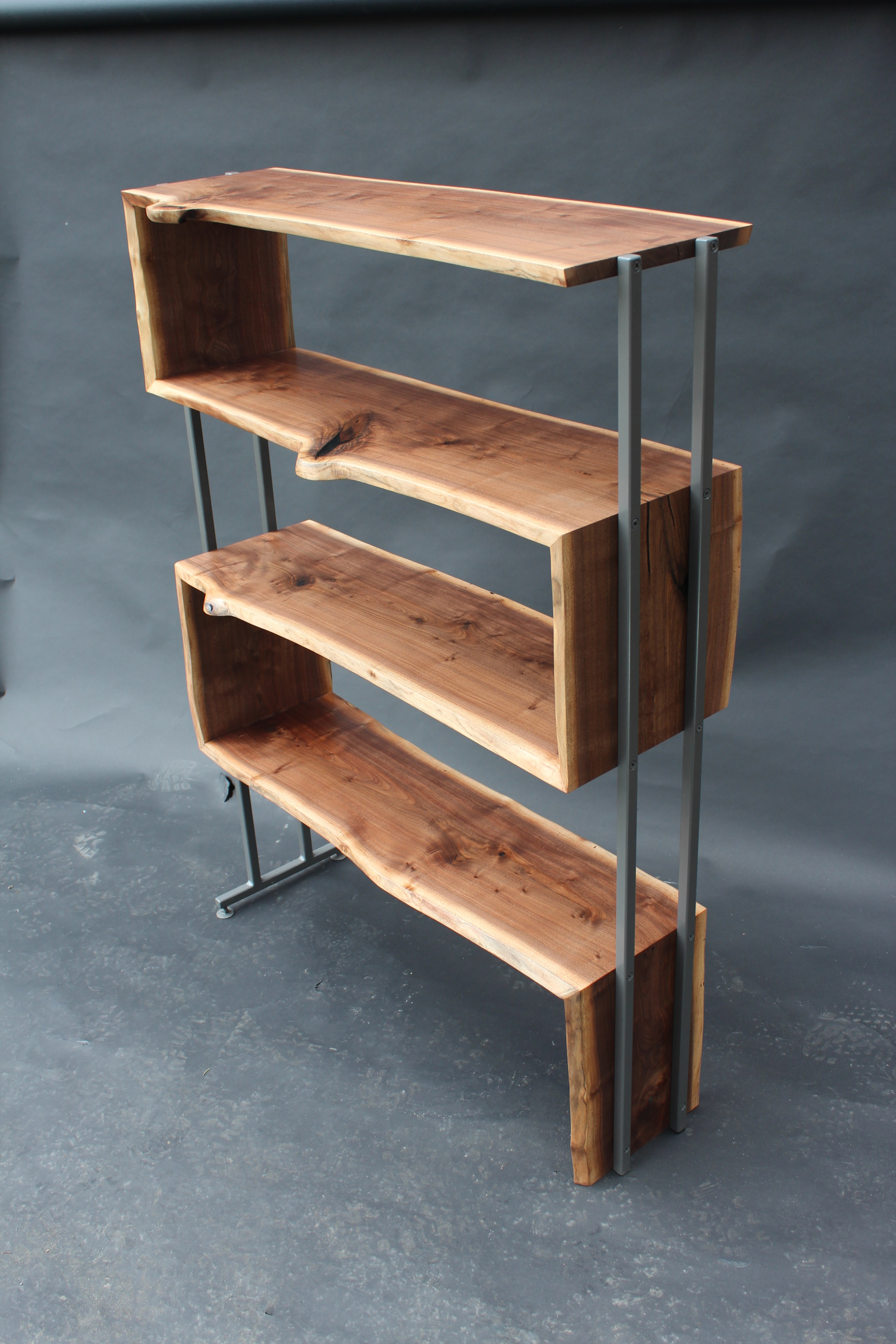 SOLD: Live Edge Walnut Waterfall Bookcase